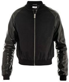 Saint Laurent Leather-sleeve teddy bomber jacket on shopstyle.com