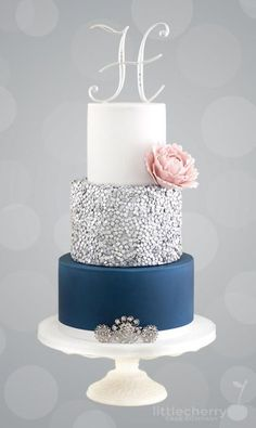 Teal and glitter detail wedding cake