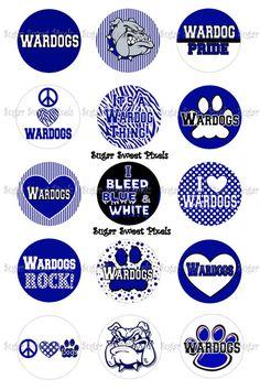 INSTANT DOWNLOAD Wardogs School Mascot 1 inch circle Bottlecap