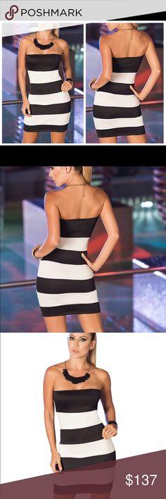 Black / White Striped shape-wear tube dress Material soft breathable Figure Shaping Dresses