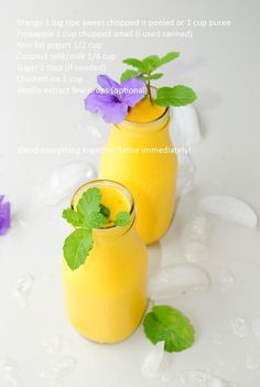 US Masala: Mango Pineapple Smoothie Yummy Smoothies, Juice Smoothie, Smoothie Drinks, Smoothie Recipes, Refreshing Drinks, Summer Drinks, Fun Drinks, Healthy Drinks, Healthy Food