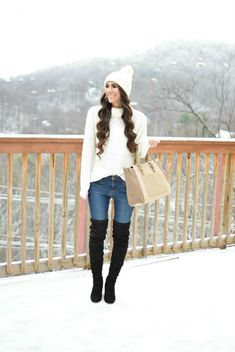 Roll Neck Sweater // Articles of Society Jeans // Steve Madden Boots Sole Society Tote // Pom Pom Beanie Happy Tuesday,. Simple Outfits, Winter Outfits, White Jacket Outfit, Articles Of Society Jeans, Snow Outfit, Steve Madden Boots, Roll Neck Sweater, Vacation Outfits, Winter White