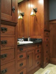 A Mission Style Bathroom [Like the cabinetry but it's a little dark]