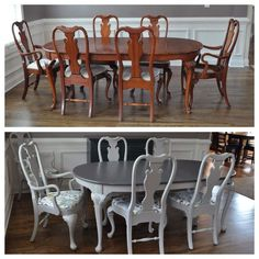 15 Best Dining Room Sets in 2019 farmhouse dining room, dining r. Refurbished Furniture, Paint Furniture, Dining Room Furniture, Furniture Makeover, Diy Furniture Refinishing, Refinishing Kitchen Tables, Chalk Paint Chairs, Furniture Design, Painted Chairs