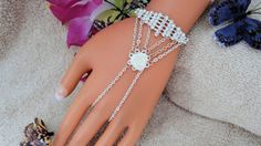 White Rose Hand Harness Finger Bracelet Wedding by JWBoutique1, $18.00