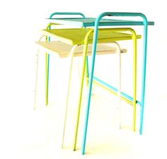 Vintage Metal Mesh Nesting Patio Tables in Aqua Lime and white (c.1960s) by ThirdShift