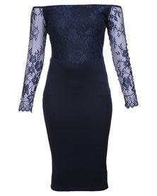 AX Paris Off Shoulder Lace Dress Navy Formal Dress Shops, Formal Wear, Formal Dresses, Off Shoulder Lace Dress, Colorful Heels, Lace Overlay, Floral Lace, Evening Dresses, Feminine