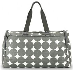 """OOYOO diaper bag """"Labor of Love"""" dots dove gray large duffel - back view"""