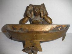 GREAT ANTIQUE BRONZE  EGYPTIAN REVIVAL PHARAOH INKWELL PEN TRAY