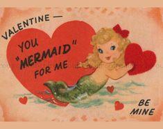 vintage mermaid valentine card images - Google Search