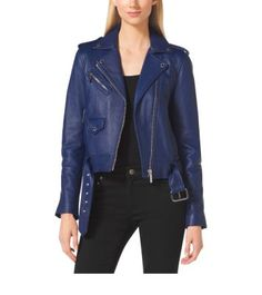 Exclusively Ours in the U.S. in Michael Kors stores and on michaelkors.com until 1/31/16. Sleek and versatile, the leather jacket is an undeniable must-have. Featuring all of the classic details like notched lapels and a polished asymmetrical zipper, this cropped style hits all the right notes. Pair it with softly flared denim or ultra-feminine dresses for an added edge.