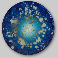 "Courting Kaos: Once in a Blue Dream Benini 2010 48""diameter  #contemporaryart #art #bluepainting #Benini"