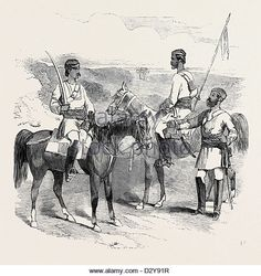 THE MUTINY IN INDIA: IRREGULAR CAVALRY OF THE BENGAL ARMY SKETCHED BY CAPTAIN G.F. ATKINSON BENGAL ENGINEERS - Stock Image