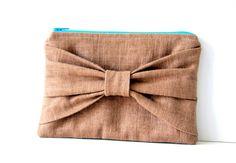 bow pouch in brown linen  / linen / brown / by SassyStitchesbyLori, $28.00