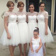 Wholesale Bridesmaid Dresses - Buy New Formal With Lace Ivory Beach Bridesmaids Gowns Sheer Tulle Cheap Bridesmaid Dresses Short Sleeves Maid of Honor Dress 2014 Sheer Vintage, $78.59 | DHgate.com