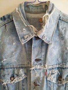 Shabby Shack Thrift Shop and Shabby Shack Vintage Denim & Treasures Denim On Denim, Denim Jacket Men, Raw Denim, Distressed Denim, Denim Shirts, Levis Jacket, Jacket Outfit, Denim Vintage, Estilo Jeans