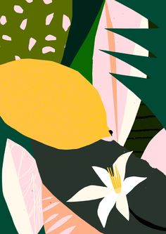 Lemon in Poster under Standard Frame by Tom Abbiss Smith Art And Illustration, Illustrations, Art Mural, Wall Art, Motif Floral, Arte Pop, Art Graphique, Marimekko, Pattern Art