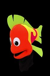 Eye-popping color explodes from this fabulous black light fish puppet.