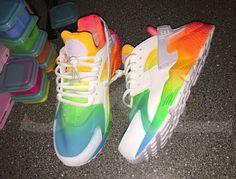 A personal favourite from my Etsy shop https://www.etsy.com/uk/listing/266663488/neon-summers-nike-air-huarache-customs #lgbt #gaypride #gayflag #nikehuarache #summerhuarache