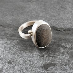 Beach Pebble & Silver Ring - Boulder II by Camali Design. Hanmade jewellery from Cornwall, UK. The silver of the ring has a brushed matt finish and the pebble is from a cornish beach. Simple yet stunning