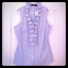 Sleeveless button down blouse Sleeveless blouse with ruffle detail neckline. White and light blue vertical stripes. The Limited Tops Blouses