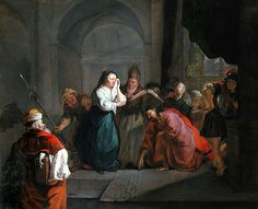 Gabriël Metsu(1629–1667) Woman taken in Adultery  Le Christ et la Femme adultère  Date1653MediumpaintingCurrent location. Louvre Museum