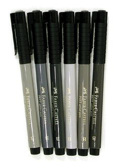 Faber Castell Pitt Artist Shades Of Grey 6/pk Brush Pen Set