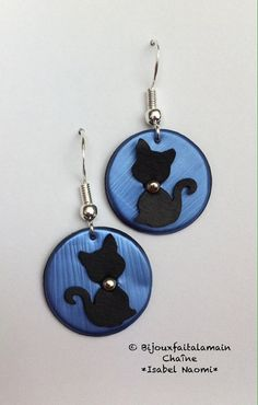 Bijoux Nespresso: boucles d'oreilles chat noir