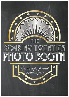 Roaring 20's Photo booth Party Props Chalkboard Sign - PRINTABLE - A4 size…