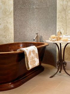 30 Relaxing and Chill Wooden Bathtubs-Bañera de madera