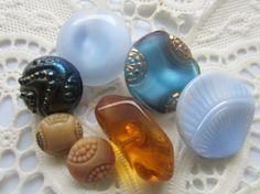 Vintage Buttons   7 assorted shades of blue  and by pillowtalkswf, $8.95