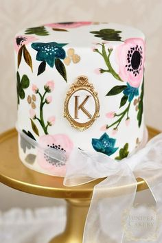 Watercolor Cakes Are the Next Big Wedding Trend via @PureWow - MONOGRAMMED WEDDING CAKE (=)