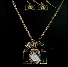 Camera necklace and earring duo