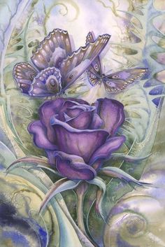 tinted purple butterflies and flowers