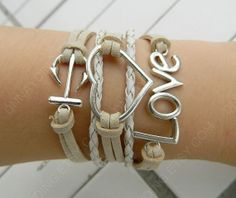 love bracelet anchor bracelet heart bracelet braid by Colorbody, $6.29