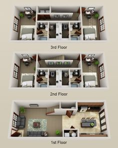 50 Two  2  Bedroom Apartment House Plans   Aerial view 3D Space 3D     Replace one bedroom with media room  Add door to kitchen leading to deck