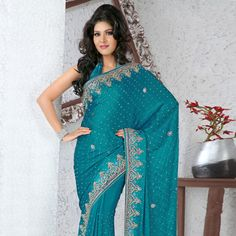 Blue Faux Chiffon Saree With Blouse Online Shopping: SKK15079