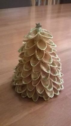 Christmas tree made from pistachios shells