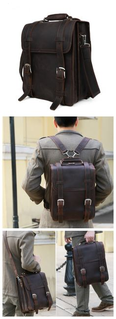 Handmade Leather Backpack /Vintage Leather Macbook Briefcase 2-in-1 Leather School Bag Backpack (CY39) - Thumbnail 4