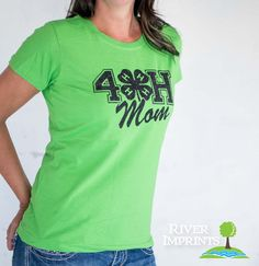 4-H MOM T-shirt, sparkly 4H glitter shirt -- Choose from a Regular Unisex or Ladies' Fitted Fitted tee