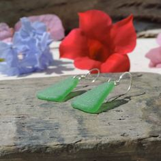 Mermaids Dream Earrings With Kelly Green Sea Glass From Puerto Rico | Out Of The Blue Sea Glass Jewelry