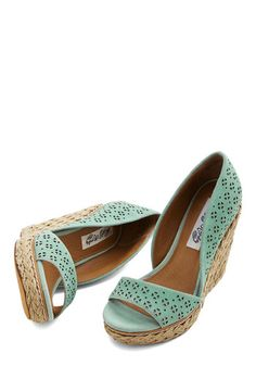 Main Street Meander Wedge in Mint. Today, your vacation takes you to a sweet seaside town, which youre ready to explore in these mint wedges! #mint #modcloth