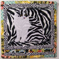 Zebra Cat by Karen Loprete - Contemporary Fiber Artist