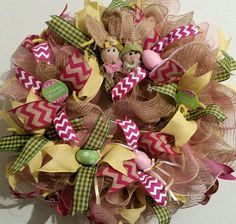 Easter Bunny Friends Springtime Easter Egg wreath. On sale with code save10. Dress up your door with this beautiful wreath.