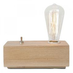 Edison Vintage Style Wood Black Edison Table Lamp – Natural