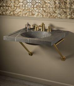 Vintage Washbasin, 27 inch, Marquina Taupe Interior Styling, Interior Decorating, Dark Accent Walls, Vintage Sink, Bathroom Wall Decor, Bathroom Stuff, Basin Sink, Stone Countertops, Vanity Sink