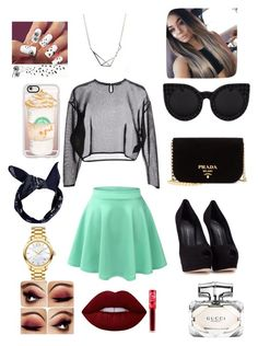 """""""Going Out With Friends"""" by jacobsartorius2002 on Polyvore featuring Yves Saint Laurent, LE3NO, Giuseppe Zanotti, Prada, Casetify, Boohoo, Movado, Lime Crime and Gucci"""
