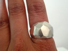 BIG rock faceted sterling silver ring by SNoU on Etsy