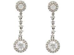 EARRINGS, 18K white gold, brilliant cut diamonds 1,35 ctw, approx W-TCR/SI, length 2,5 g, weight 3,2 g. #jewelry #earrings #diamonds
