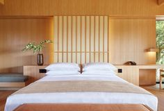 A new Aman Resort in Japan, Amanemu is located in Ise Shima National Park. The luxury resort provides hot springs in luxurious surrounds. Japanese Bedroom, Japanese Interior, Japanese House, Light Hardwood Floors, Pavilion Design, Asian Home Decor, Luxury Accommodation, Luxury Hotels, One Bedroom